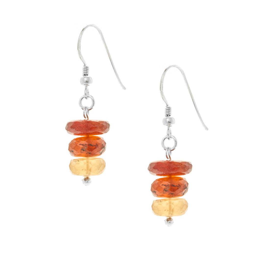 Hessonite Three Bead Drop Earrings