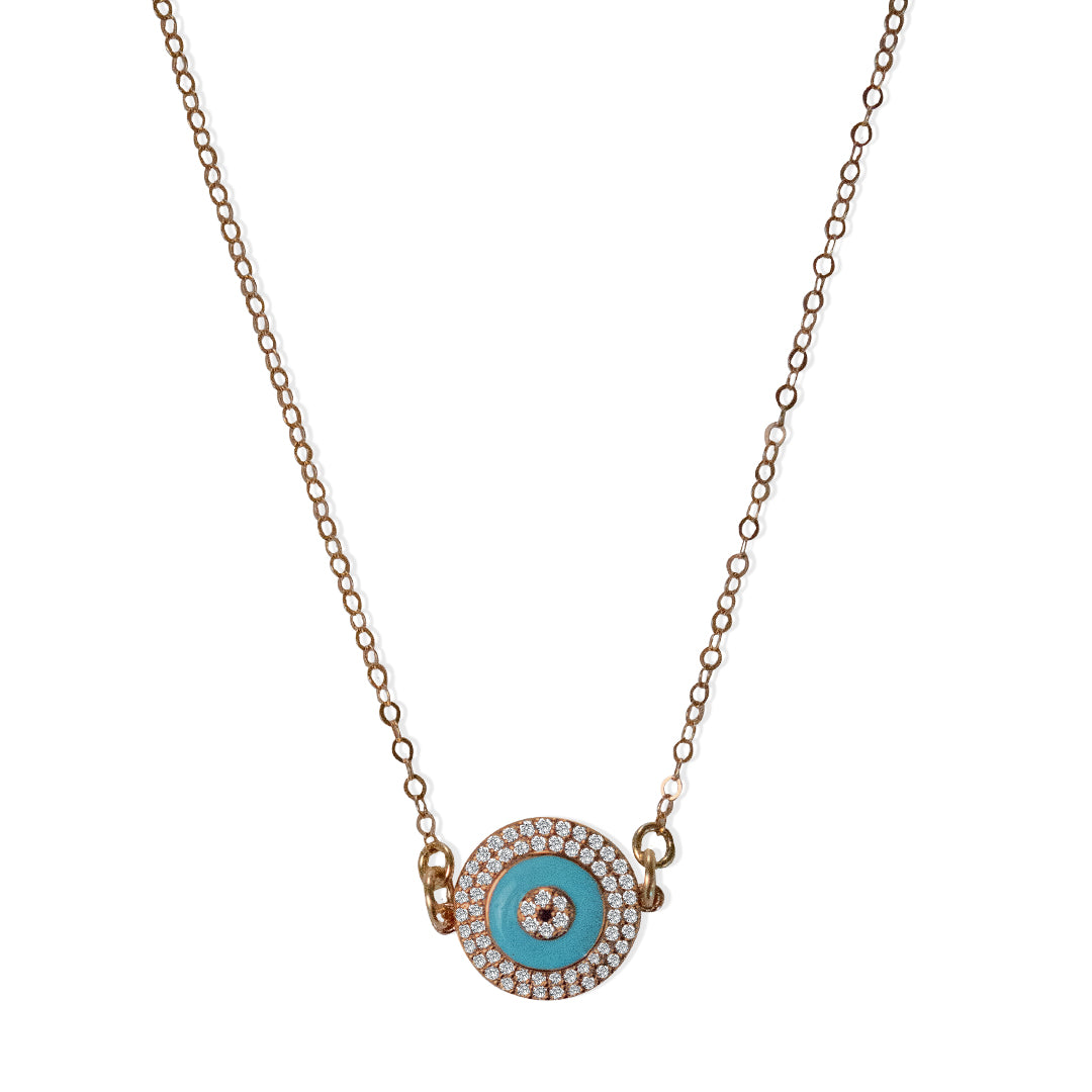 Rose Gold All Seeing Eye with Turquoise Delicate Pendant