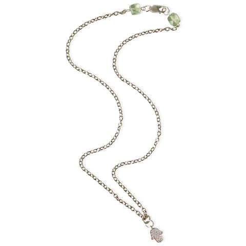 Namaste Hand with Green Amethyst Delicate Pendant