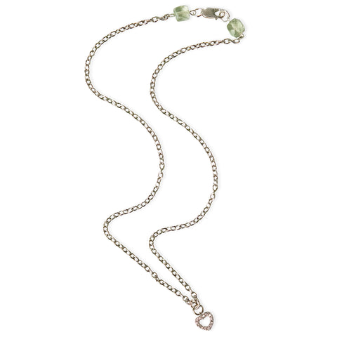 Heart with CZ and Green Amethyst Clasp Delicate Pendant