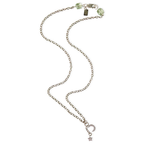 Moon and Star with CZ's and Green Amethyst Clasp Delicate Pendant