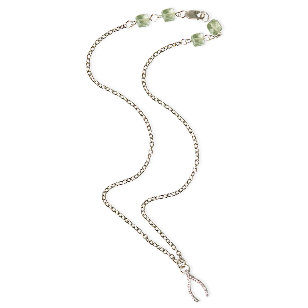 Wishbone with CZ's and Green Amethyst Clasp Delicate Pendant
