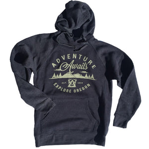 Unisex Adventure Awaits Hoodie Vintage Navy & Gray