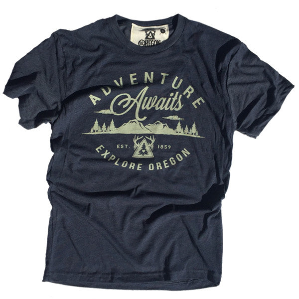 Men's Adventure Awaits Vintage Navy T-shirt