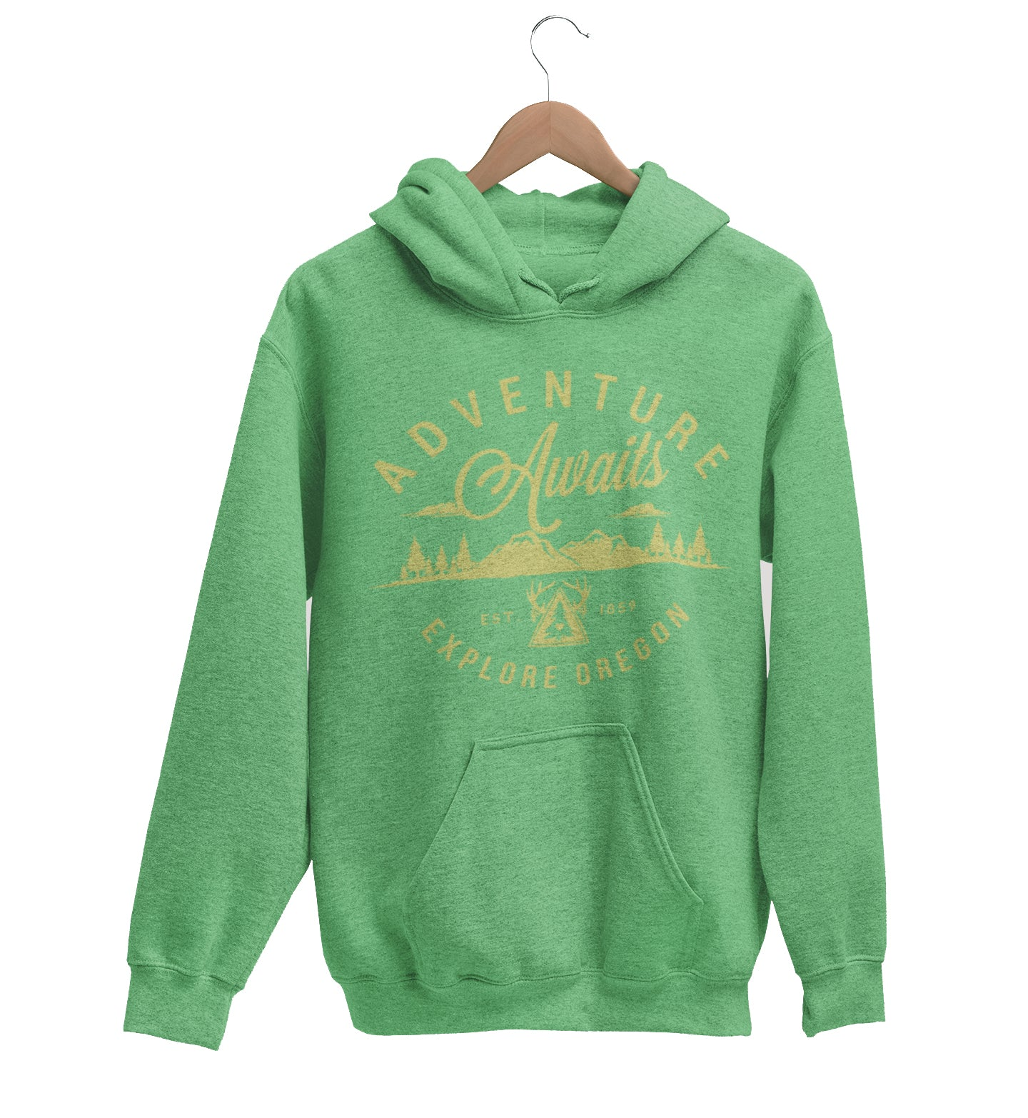 Unisex Adventure Awaits Hoodie Vintage Sea Green