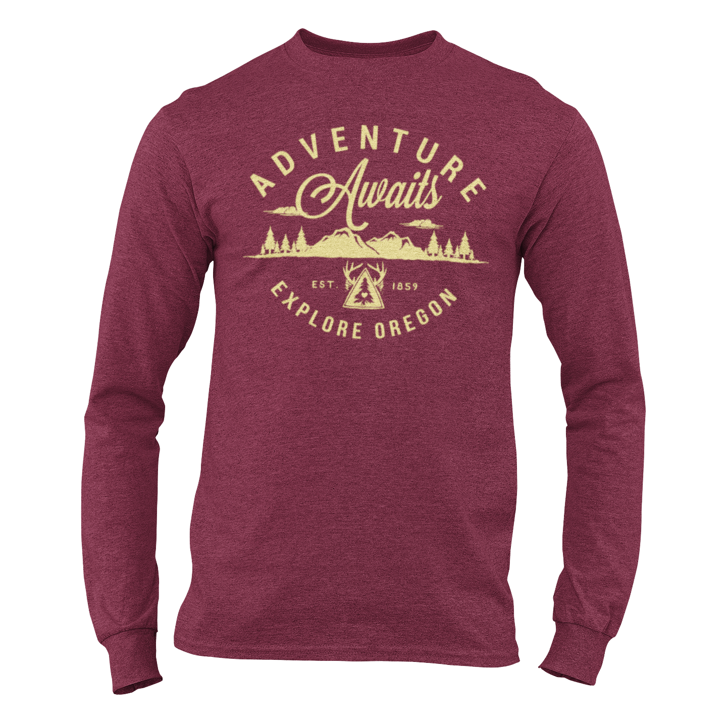 Unisex Adventure Awaits Long Sleeve Maroon