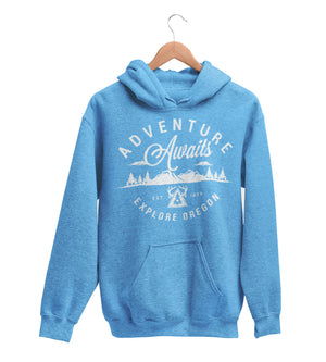 Unisex Adventure Awaits Hoodie Vintage Pacific Blue