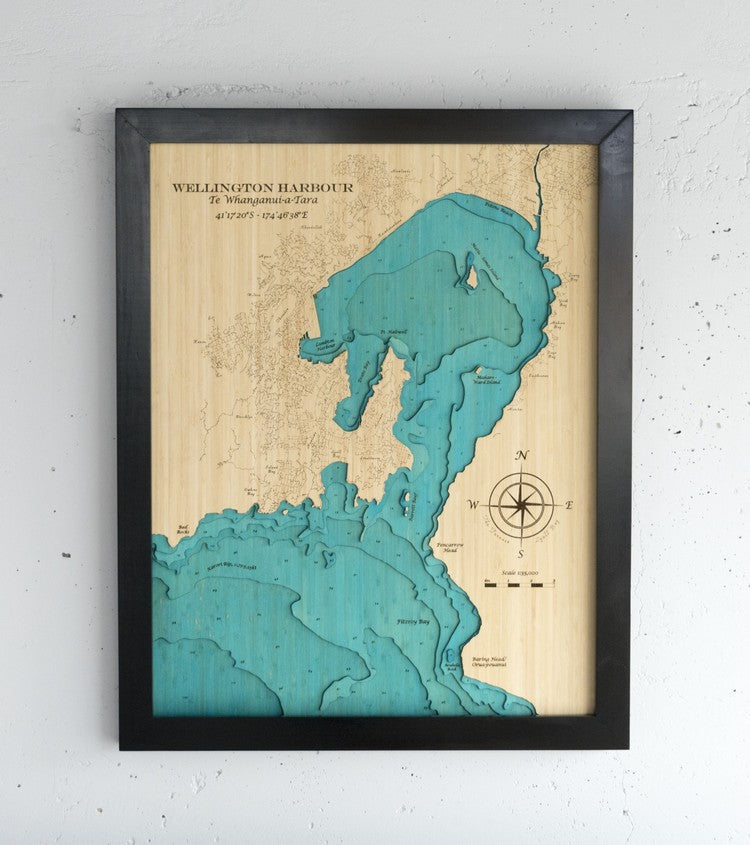 3D Wooden Chart - Wellington Harbour