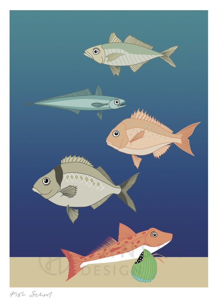 Cathy Hansby Print - Fish School