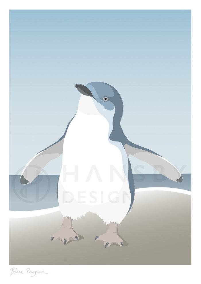 Cathy Hansby Print - Blue Penguin