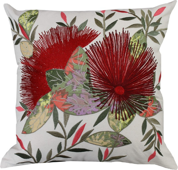 NZ Pohutukawa Embroidered Cushion