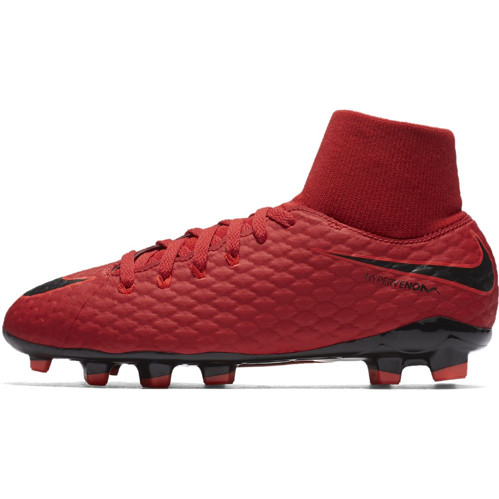 Kids' Nike Jr. Hypervenom Phelon III Dynamic Fit (FG) Firm-Ground Football Boot RED