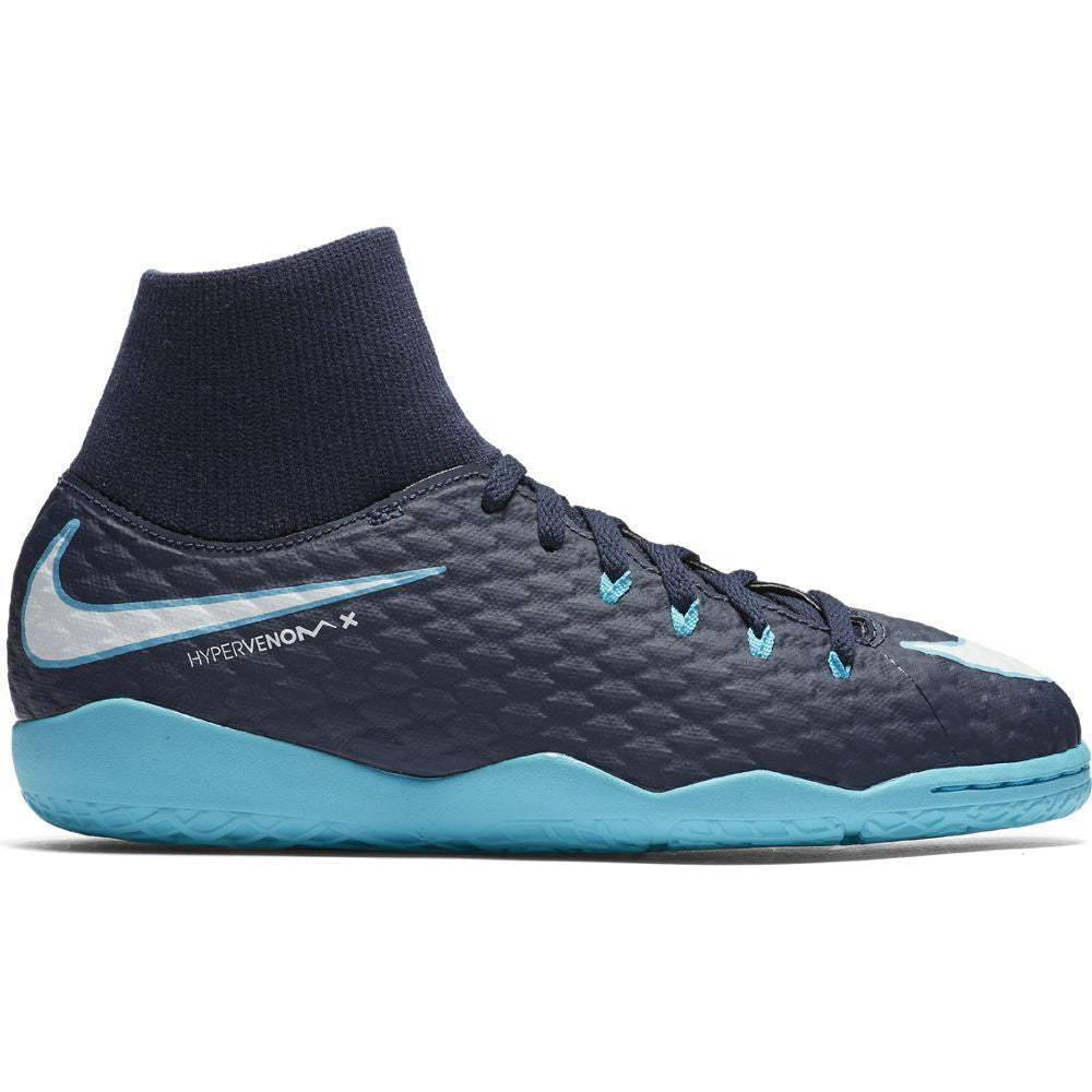 Kids' Nike Jr. HypervenomX Phelon III Dynamic Fit (IC) Indoor/Court Football Boot Blue
