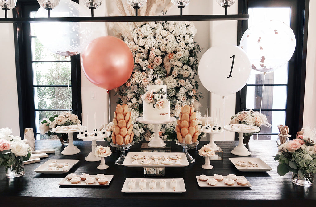 A dessert table dressed in Irises Designs