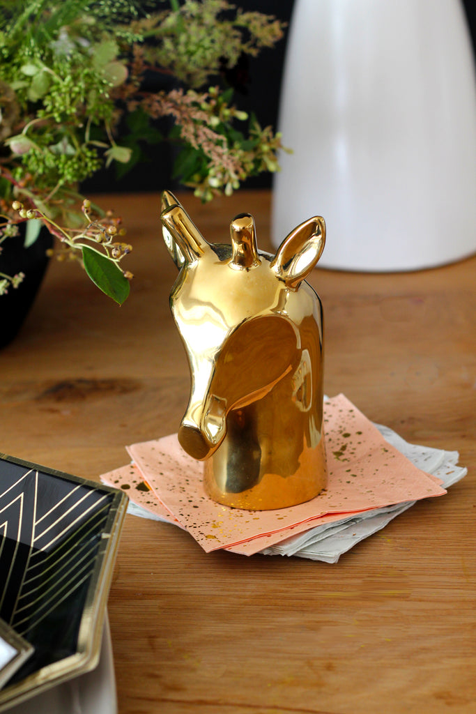 gold deer head decor