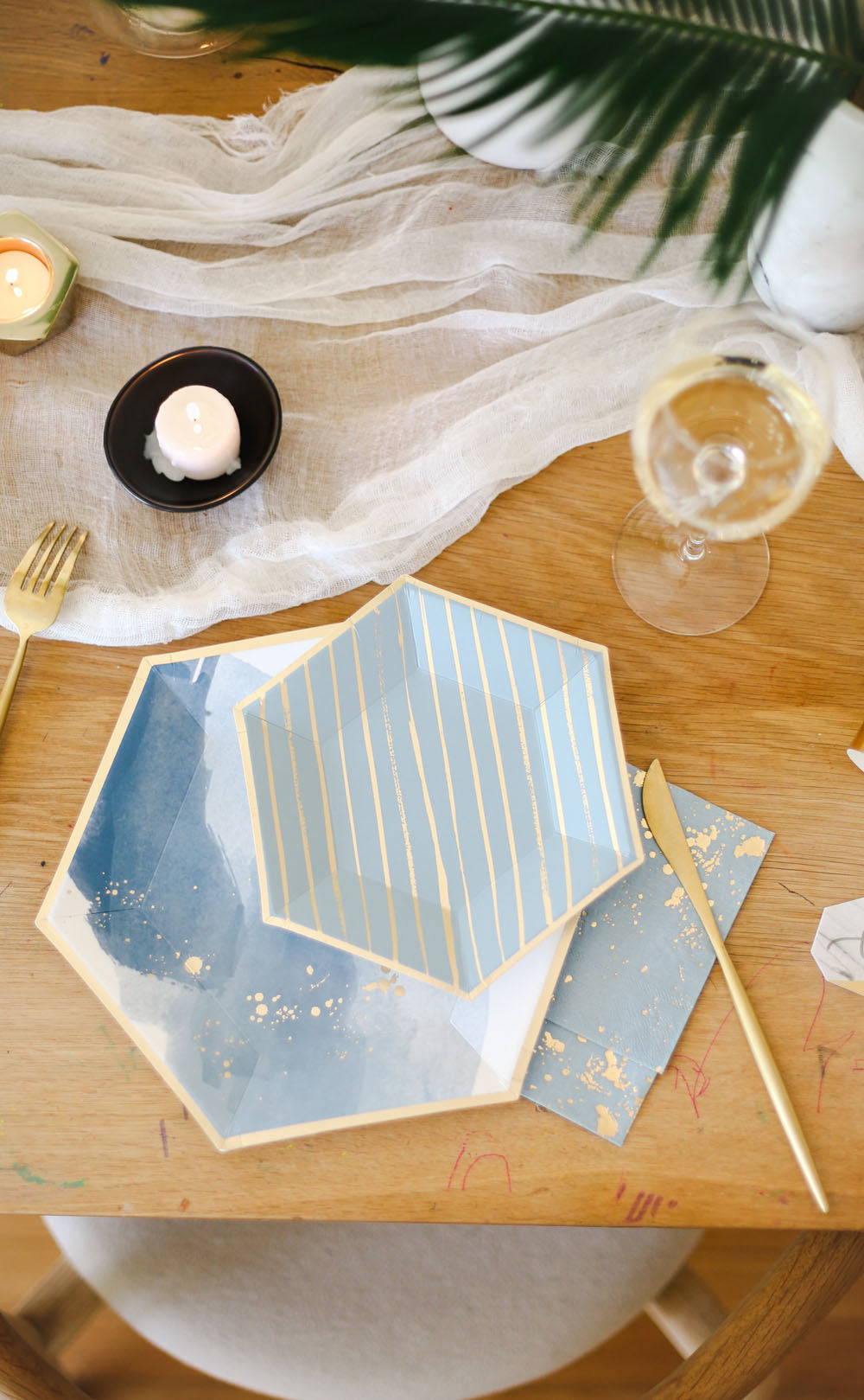 blue and gold party plates