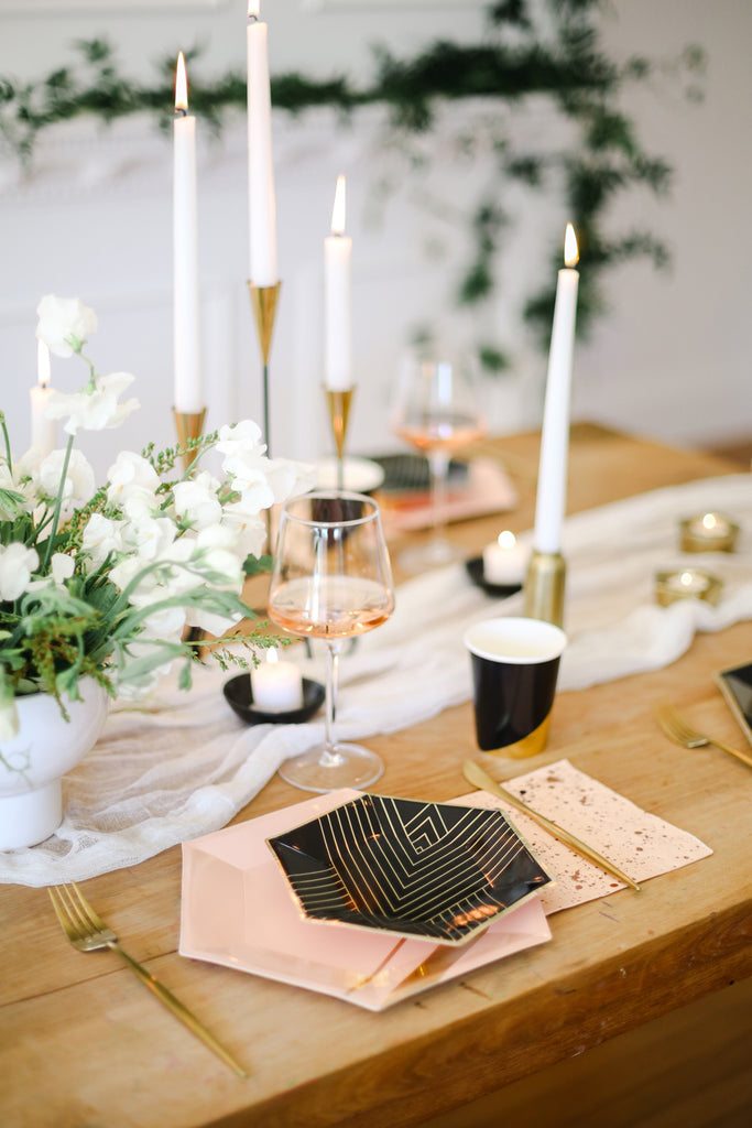 modern blush and black table setting
