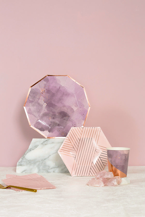 Amethyst - Pale Pink Striped Cocktail Paper Napkins