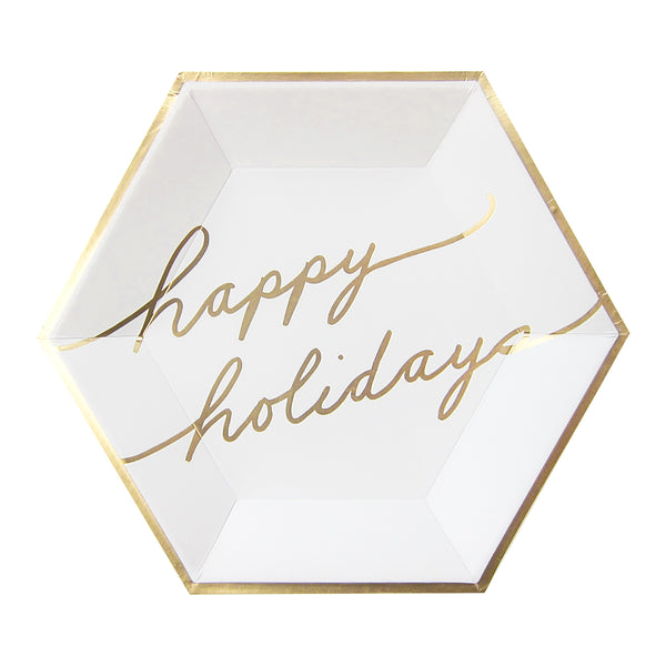 Blanc Holiday - White and Gold Happy Holidays Large Paper Plates