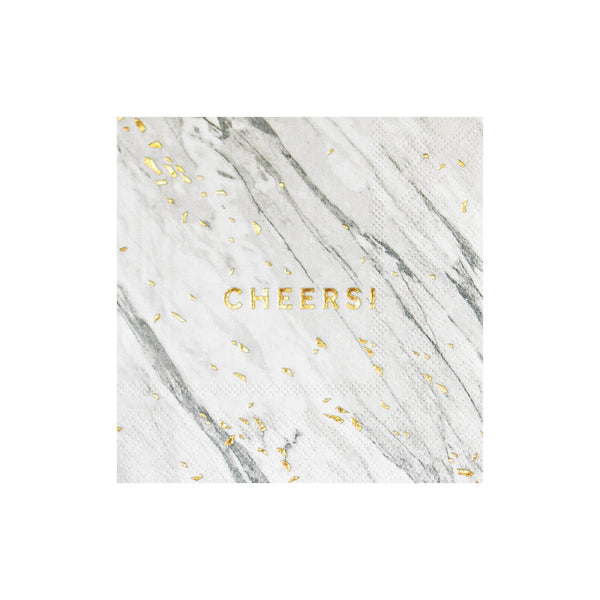 White Marble Cheers Cocktail Napkins