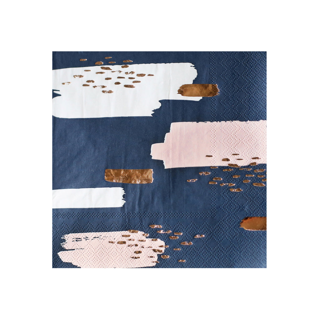 Erika - Navy Abstract Lunch Paper Napkins