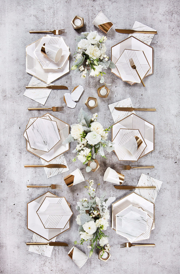 Blanc - White Striped Small Paper Plates
