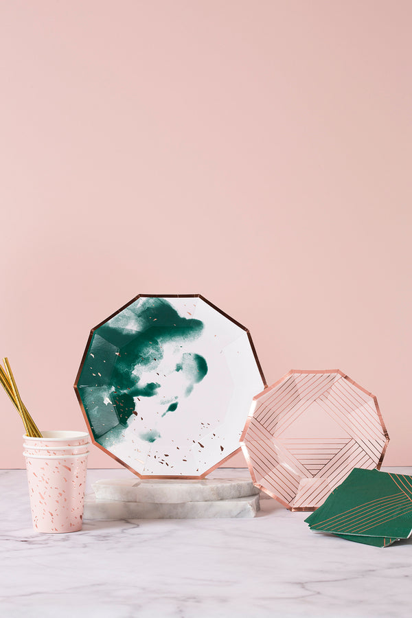 Manhattan - Pale Pink Striped Small Paper Plates