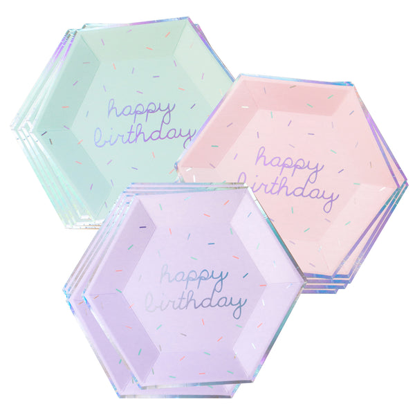 Sprinkles - Pastel Happy Birthday Large Paper Plates (Multi-Color Pack)