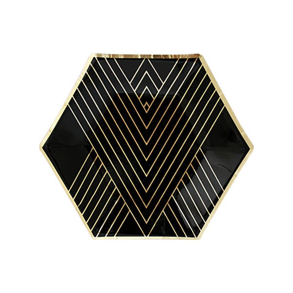 Noir - Black Striped Small Paper Plates