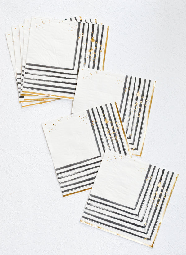 Rebelle - Black and White Brush Strokes Lunch Paper Napkins