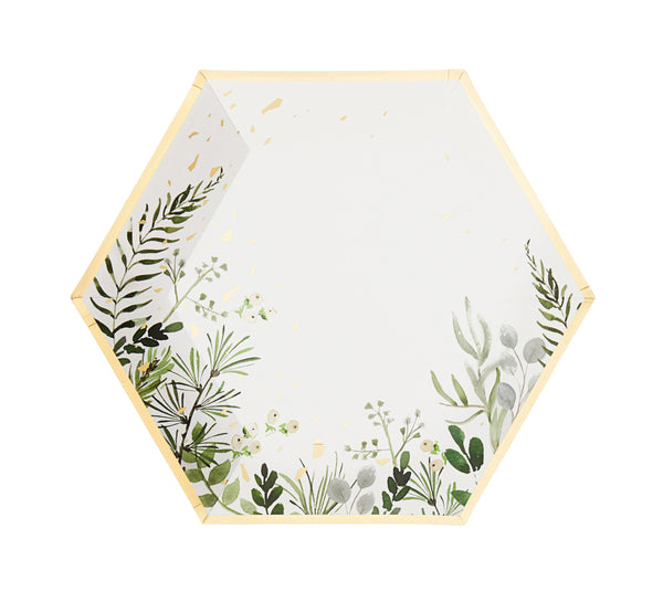 Secret Garden - White Botanicals Large Paper Plates