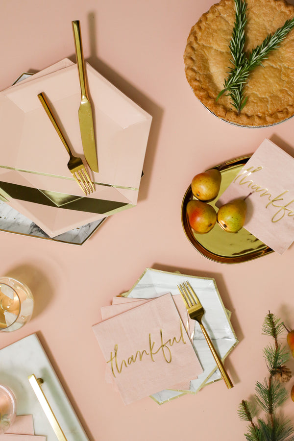 Peach Blush Thankful Cocktail Napkins