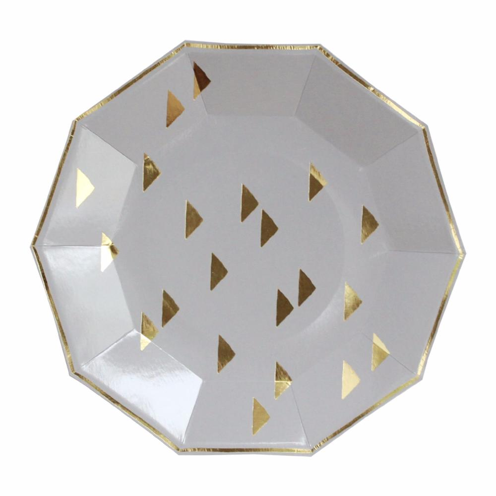 Wander - Grey Triangles Large Paper Plates