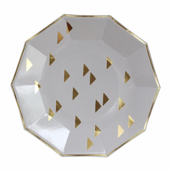 Wander - Gold Triangles Decagon Large Party Plates