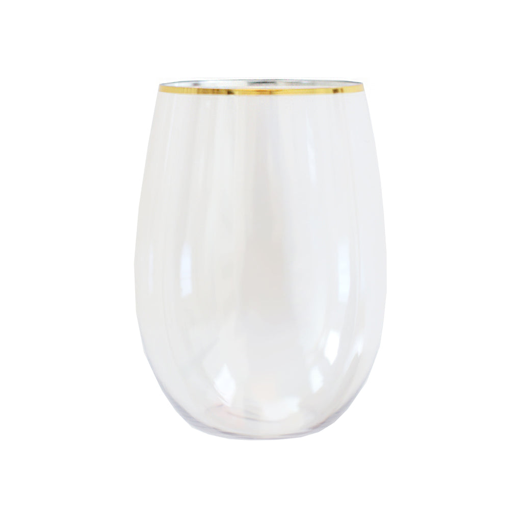 Gold Rimmed Stemless Plastic Wine Glasses