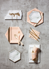 blush and gold party supplies by Harlow & Grey