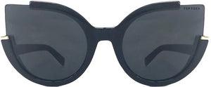 Topfoxx Women's Sunglasses New York Top Trending Chloe Cat Eye Black Sunnies