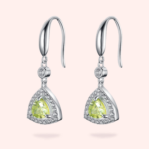 Topfoxx Jewelry Sterling Silver Earrings Chartreuse Crystal
