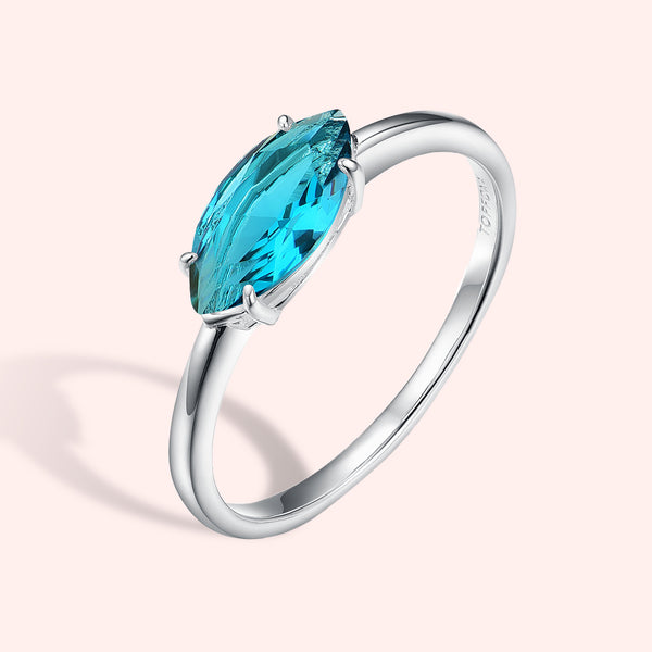 Topfoxx Jewelry Sterling Silver Poppy Ring Silver Band Turquoise Blue Marquise Cut Crystal