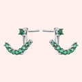 Topfoxx Jewelry Sterling Silver Earrings Crescent Emerald Crystal