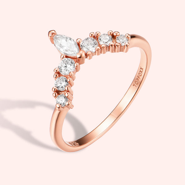Topfoxx Jewelry Sterling Silver Ring Duchess Rose Gold Clear Crystal