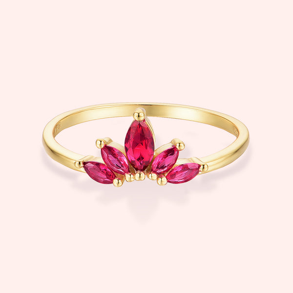 Topfoxx Jewelry Sterling Silver Ring Royalty Ruby Red Crystal Gold Band