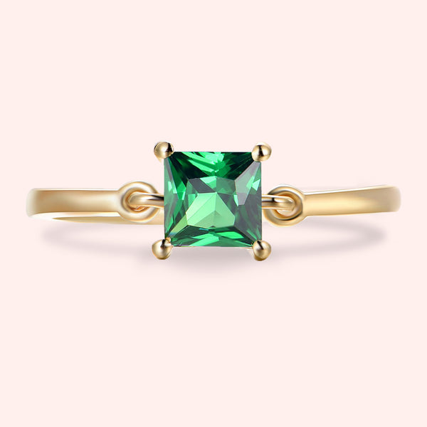 Topfoxx Jewelry Sterling Silver Ring Finesse Gold Band Emerald Crystal