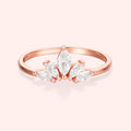 Topfoxx Jewelry Sterling Silver Ring Royalty Rose Gold Clear Crystal