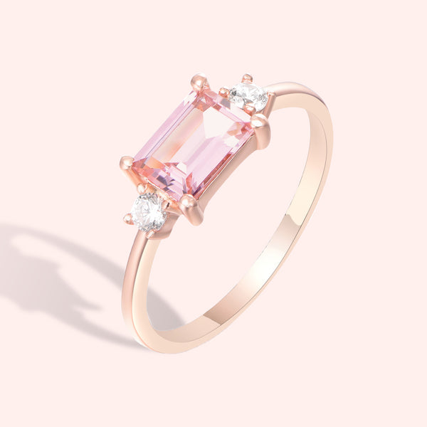 Topfoxx Jewelry Sterling Silver Ring Eye Candy Rose Gold Baguette Pink Crystal