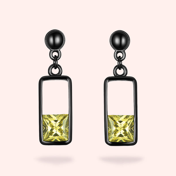 Topfoxx Jewelry Sterling Silver Earrings Glow Up Chartreuse Crystal Black Gold Base