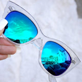 Venice Cateye Sunnies  - Clear/Blue+Purple (transforming lens)