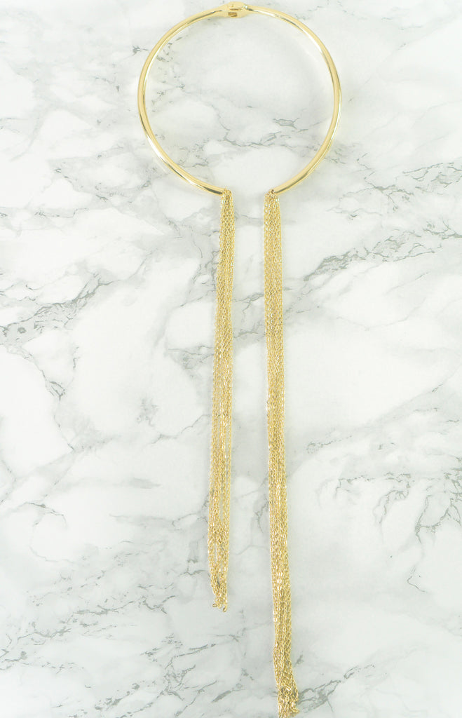 """Linda"" - Brass or Gold -  Asymmetrical Chain Choker Necklace"