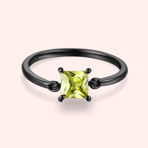 Topfoxx Jewelry Sterling Silver Ring Finesse Black Gold Band Chartreuse Crystal