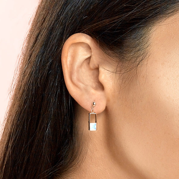 Topfoxx Jewelry Sterling Silver Earrings Glow Up Iridescent Crystal Rose Gold Base